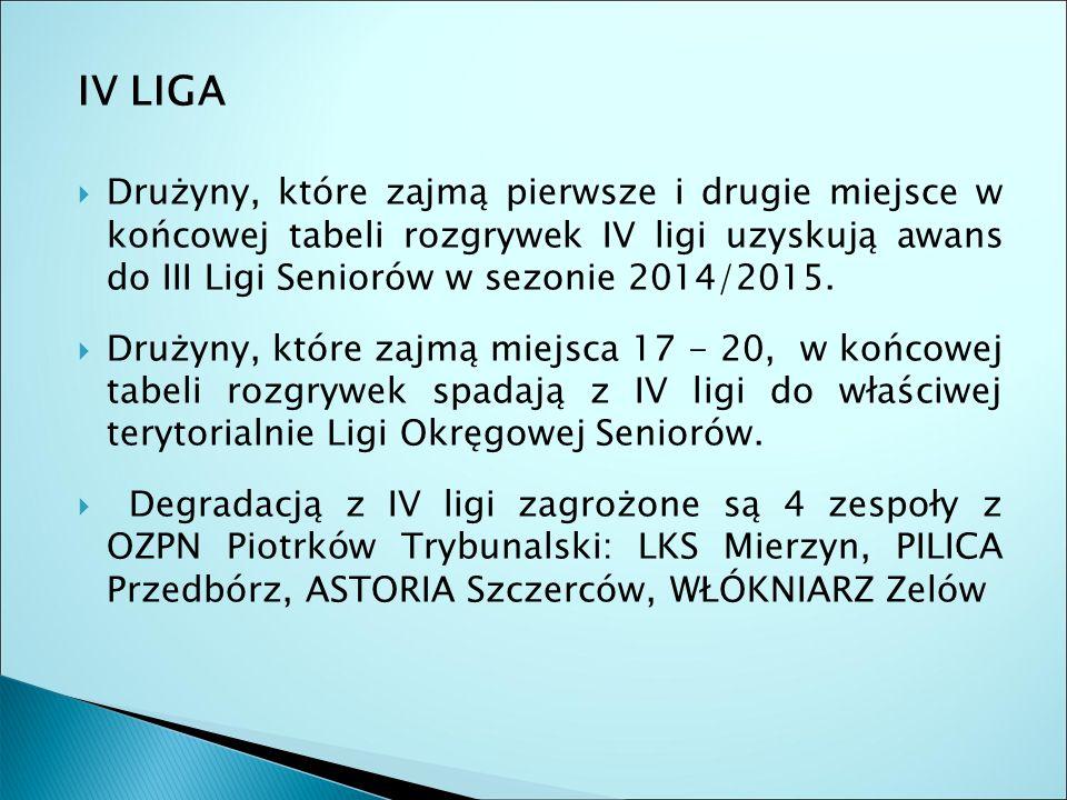 IV LIGA  Drużyny, które zajmą pierwsze i drugie miejsce w końcowej tabeli rozgrywek IV ligi uzyskują awans do III Ligi Seniorów w sezonie 2014/2015.