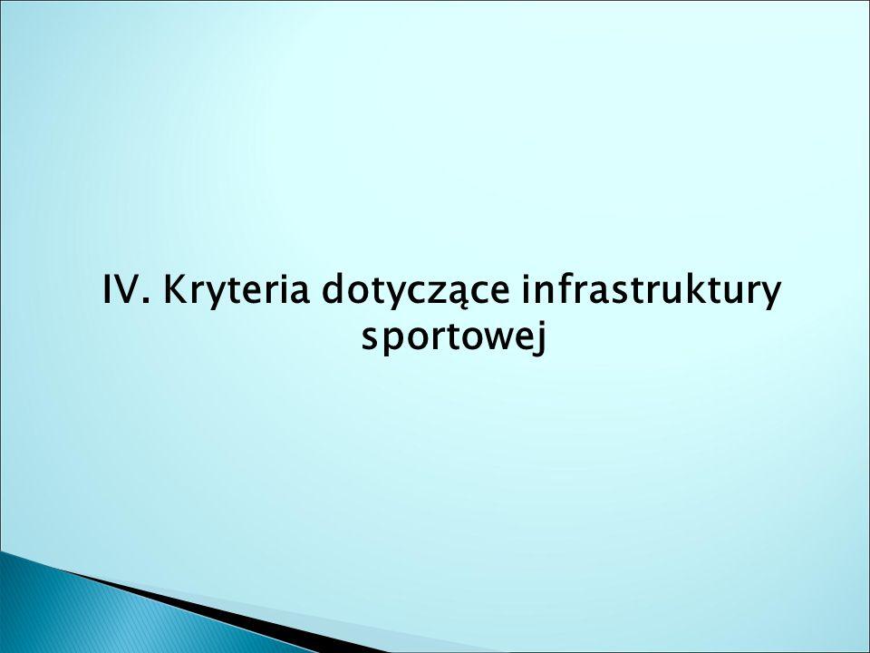 IV. Kryteria dotyczące infrastruktury sportowej
