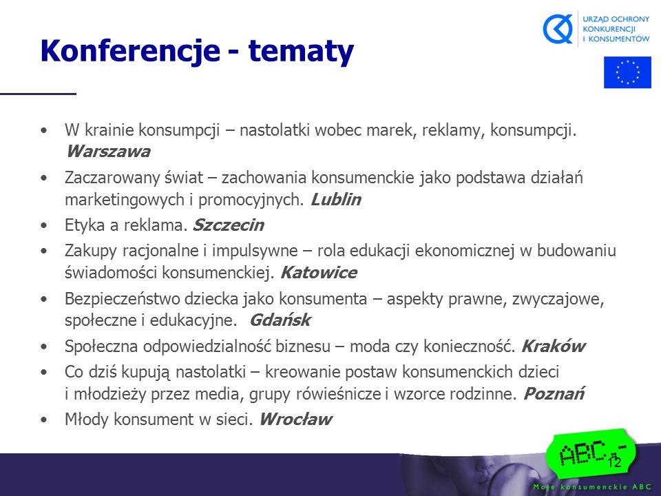 12 Konferencje - tematy W krainie konsumpcji – nastolatki wobec marek, reklamy, konsumpcji. Warszawa Zaczarowany świat – zachowania konsumenckie jako