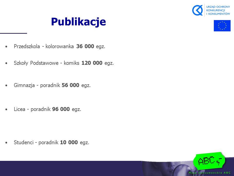 7 Publikacje Przedszkola - kolorowanka 36 000 egz. Szkoły Podstawowe - komiks 120 000 egz. Gimnazja - poradnik 56 000 egz. Licea - poradnik 96 000 egz