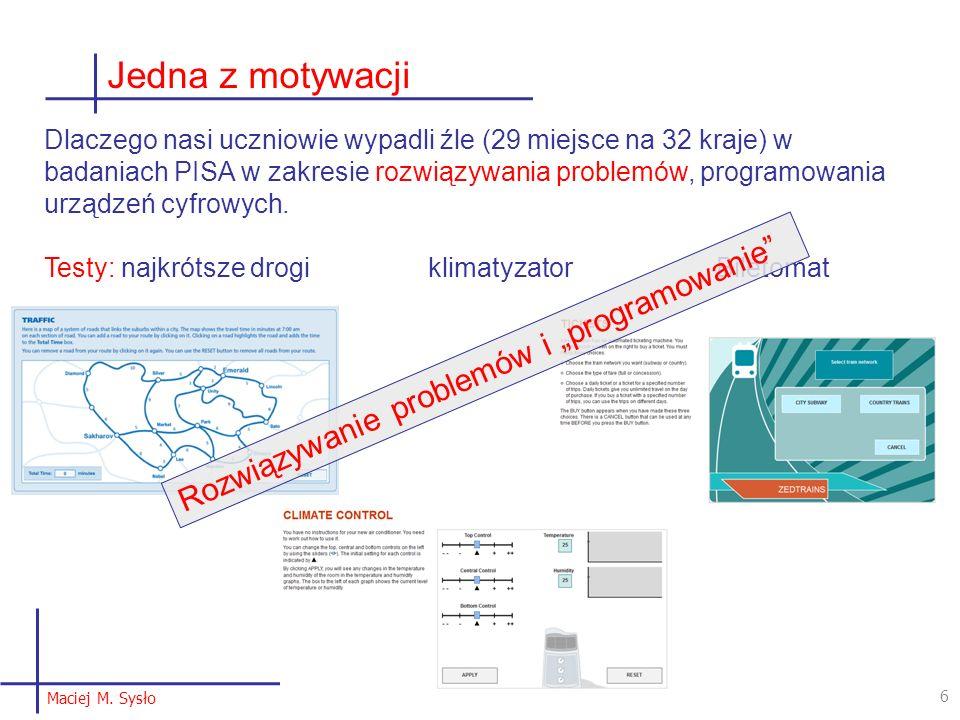 """27 Język, języki … - komunikacja z komputerem Granice naszego języka są granicami naszego poznania (świata) [Ludwig Wittgenstein] Tutaj: Programowanie technologii = kreatywne korzystanie z technologii, ale nie tylko programowanie w języku programowania Wybór języka K-3, 4-6 – język obrazkowy, wizualny, blokowy Scratch, Blockly – zaleta: jest w Godzinie kodowania, w Robotach, Baltie 4-6, gimnazjum, LO – język """"tekstowy – proponuję Python, ale może być C++, Nawet Pascal, … Ważne Przejście między językami (4-6 – Gim) – te same konstrukcje programistyczne/algorytmiczne programowania technologii świata za pomocą technologii [Maciej M."""