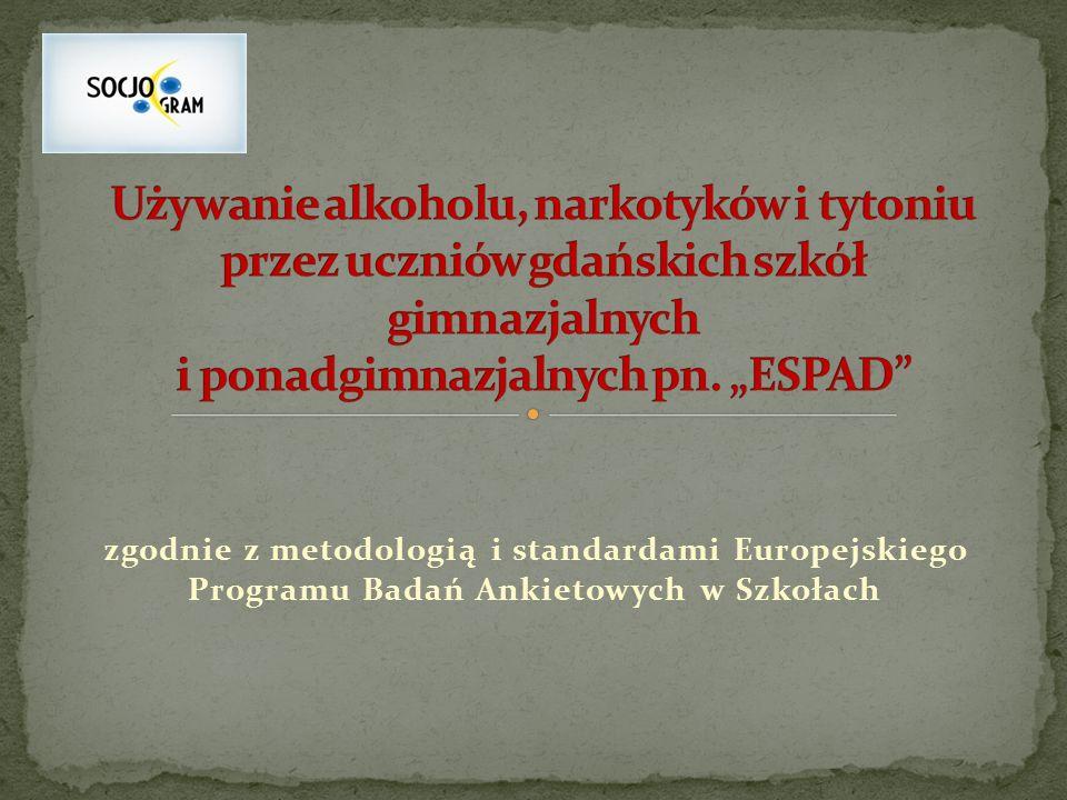 zgodnie z metodologią i standardami Europejskiego Programu Badań Ankietowych w Szkołach