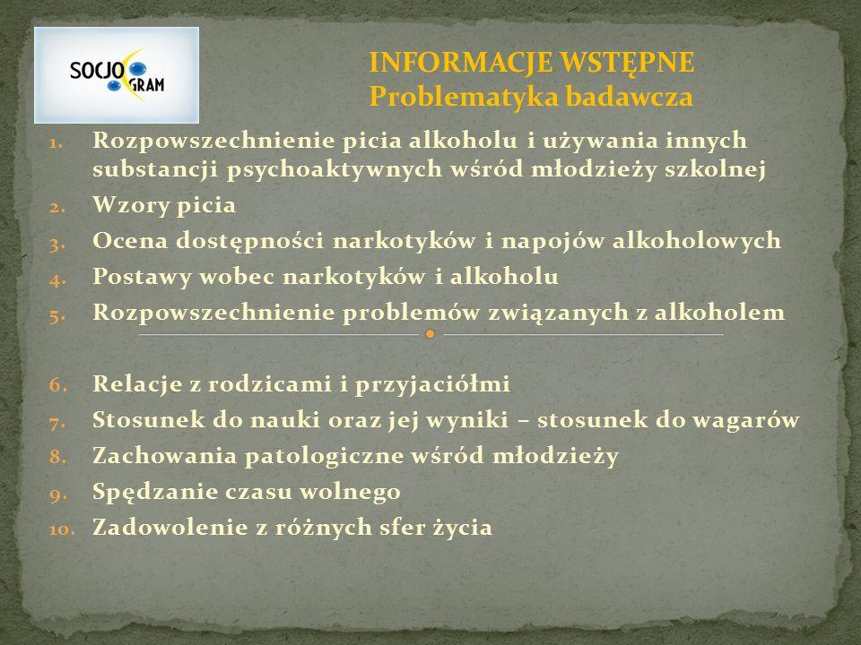 1. Rozpowszechnienie picia alkoholu i używania innych substancji psychoaktywnych wśród młodzieży szkolnej 2. Wzory picia 3. Ocena dostępności narkotyk