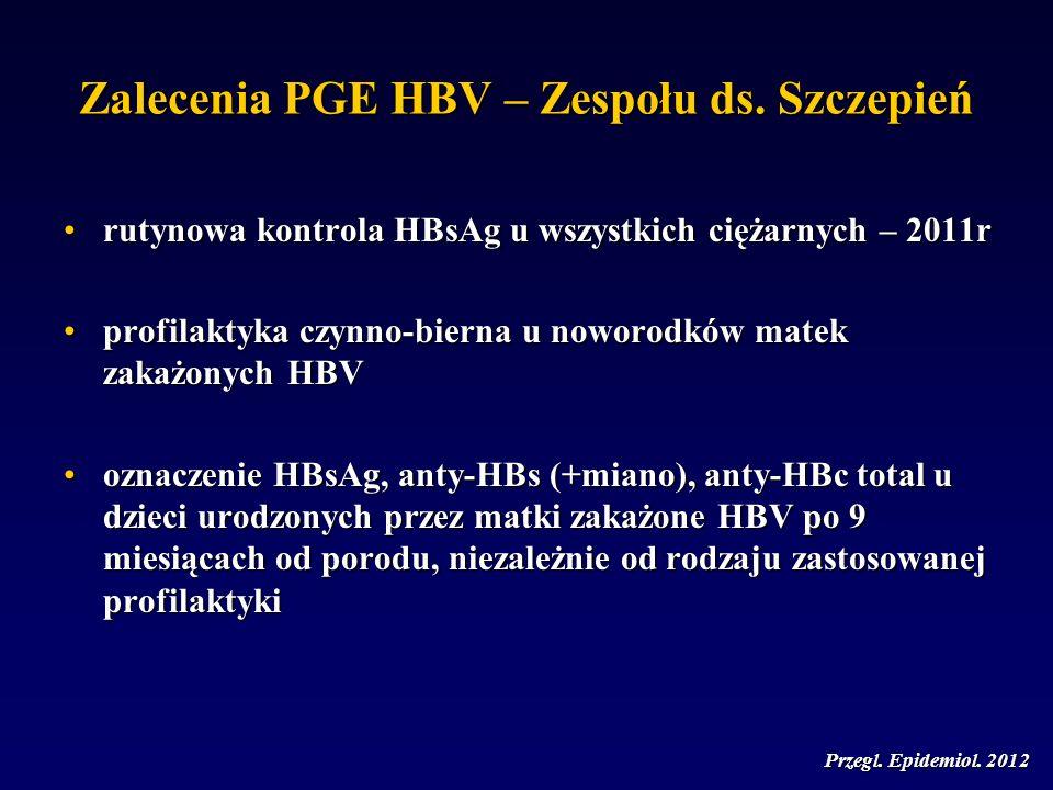 Zalecenia PGE HBV – Zespołu ds. Szczepień rutynowa kontrola HBsAg u wszystkich ciężarnych – 2011rrutynowa kontrola HBsAg u wszystkich ciężarnych – 201