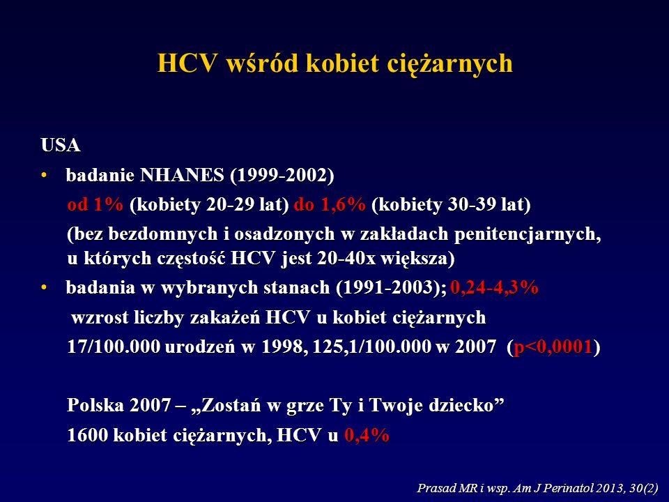 """HCV wśród kobiet ciężarnych USA badanie NHANES (1999-2002)badanie NHANES (1999-2002) od 1% (kobiety 20-29 lat) do 1,6% (kobiety 30-39 lat) (bez bezdomnych i osadzonych w zakładach penitencjarnych, u których częstość HCV jest 20-40x większa) badania w wybranych stanach (1991-2003); 0,24-4,3%badania w wybranych stanach (1991-2003); 0,24-4,3% wzrost liczby zakażeń HCV u kobiet ciężarnych wzrost liczby zakażeń HCV u kobiet ciężarnych 17/100.000 urodzeń w 1998, 125,1/100.000 w 2007 (p<0,0001) Polska 2007 – """"Zostań w grze Ty i Twoje dziecko 1600 kobiet ciężarnych, HCV u 0,4% Prasad MR i wsp."""