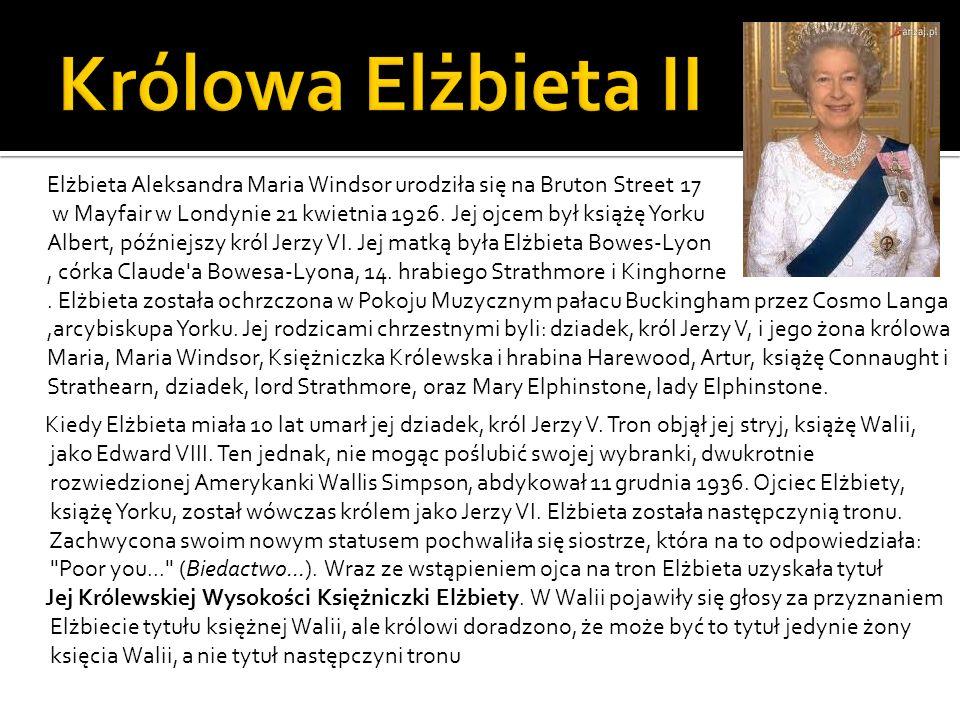 Elżbieta Aleksandra Maria Windsor urodziła się na Bruton Street 17 w Mayfair w Londynie 21 kwietnia 1926. Jej ojcem był książę Yorku Albert, późniejsz