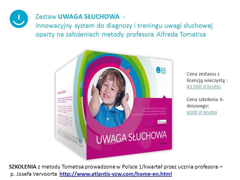 Zestaw UWAGA SŁUCHOWA - Innowacyjny system do diagnozy i treningu uwagi słuchowej oparty na założeniach metody profesora Alfreda Tomatisa SZKOLENIA z metody Tomatisa prowadzone w Polsce 1/kwartał przez ucznia profesora – p.
