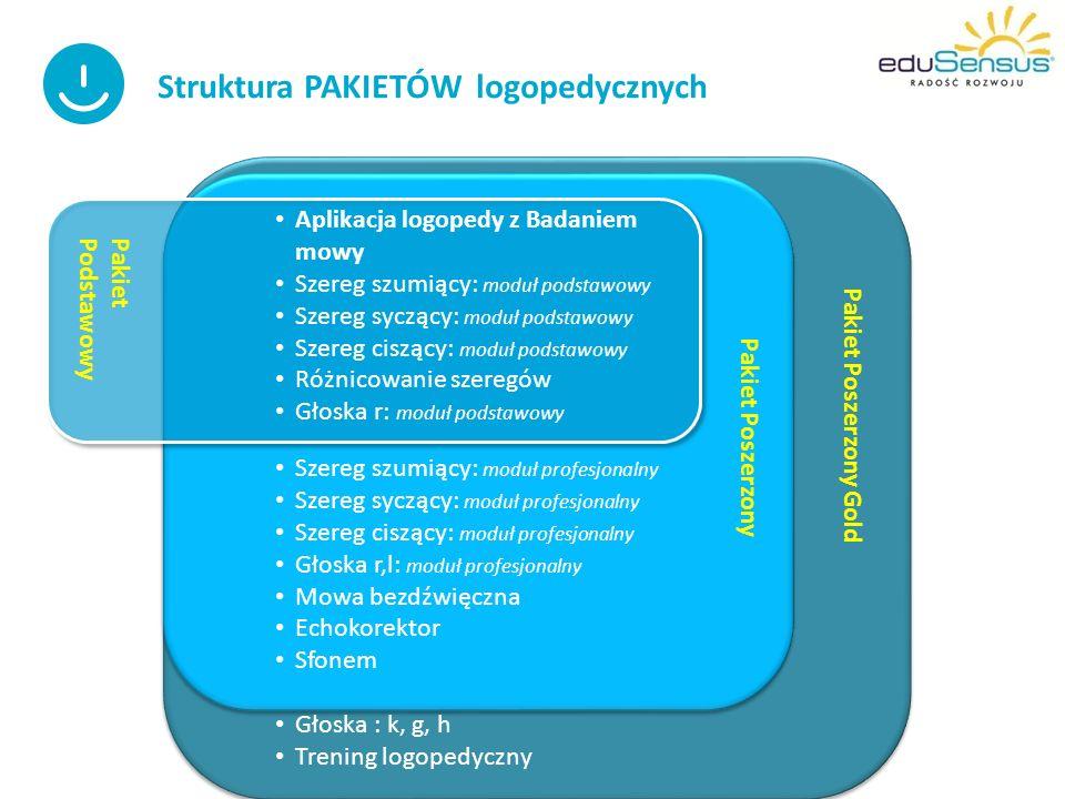 Programy DIAGNOSTYCZNO- TERAPEUTYCZNE ( przeznaczone wyłącznie dla specjalistów LOGOPEDÓW ) Programy współpracujące z programem nadrzędnym –APLIKACJĄ LOGOPEDY : PAKIET PODSTAWOWY – 5 części ( ponad 1000 ćwiczeń interaktywnych+ 250 wzorów kart pracy do wydruku) PAKIET POSZERZONY- 12 części ( ponad 2300 ćw.