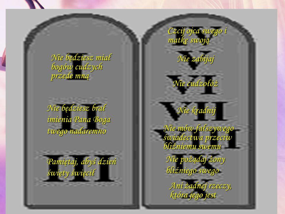 Nie będziesz miał bogów cudzych przede mną Nie będziesz brał imienia Pana Boga twego nadaremno Pamiętaj, abyś dzień święty święcił Czcij ojca swego i matkę swoją Nie zabijaj Nie cudzołóż Nie kradnij Nie mów fałszywego świadectwa przeciw bliźniemu swemu Nie pożądaj żony bliźniego swego Ani żadnej rzeczy, która jego jest