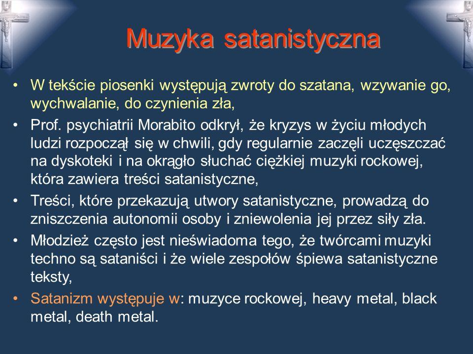 Satanizm Ma początki w XVII w. we Francji (czarne msze), Rozwój satanizmu w XX w. (Crowley, La Vey) Ma 5 poziomów aż do zabijania ludzi, Szatan chce z