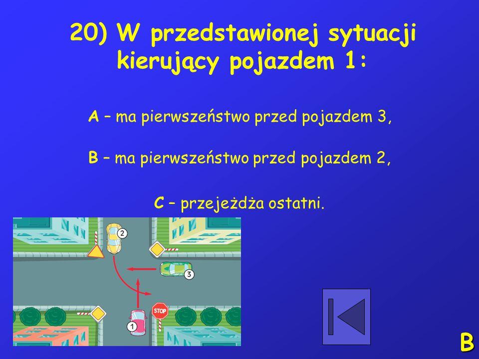 19) Wynikający z przepisów ogólnych zakaz rozwijania przez rowerzystów prędkości powyżej 20 km/h dotyczy: A – chodnika, B – przejazdów kolejowych, C –
