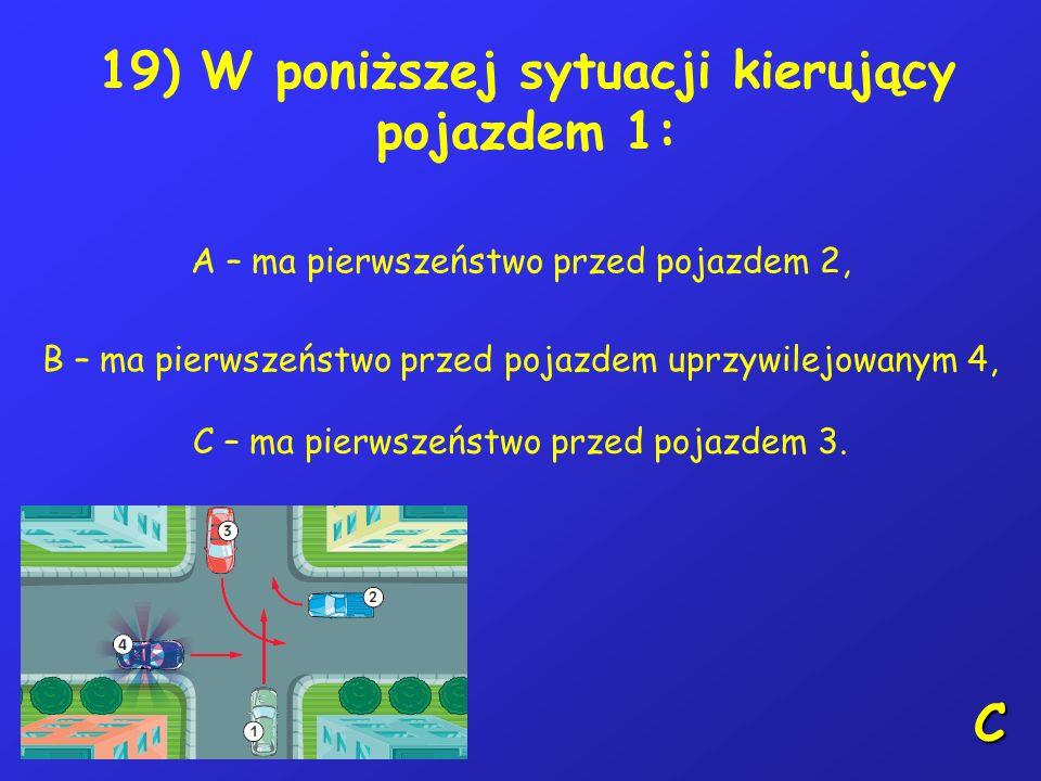 18) Jeżeli na przystanku tramwajowym nie wyposażonym w wysepkę dla pasażerów stoi tramwaj, to kierujący rowerem: A – powinien zachować szczególną ostr