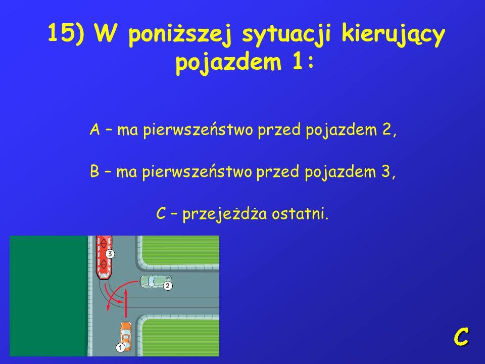 14) Kierujący rowerem powinien ograniczyć zaufanie do: A – nieprawidłowo zachowującego się na drodze pieszego, B – każdego uczestnika ruchu, C – niepr