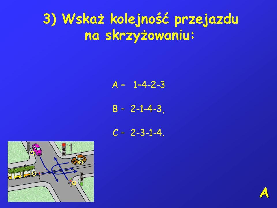 2) Jadąc pasem ruchu dla pojazdów powolnych i zbliżając się do jego końca kierujący rowerem: A – powinien zmienić pas ruchu, zachowując szczególną ost