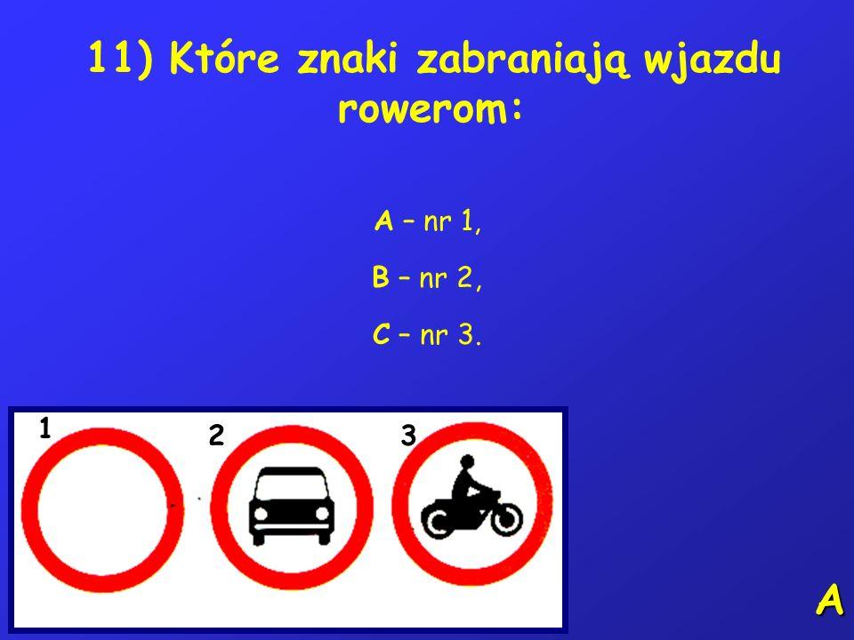 10) Na tym skrzyżowaniu kierujący rowerem: A – nr 1 może skręcić w prawo, B – nr 2 może zjechać ze skrzyżowania, C – nr 3 może podjechać tylko do środ
