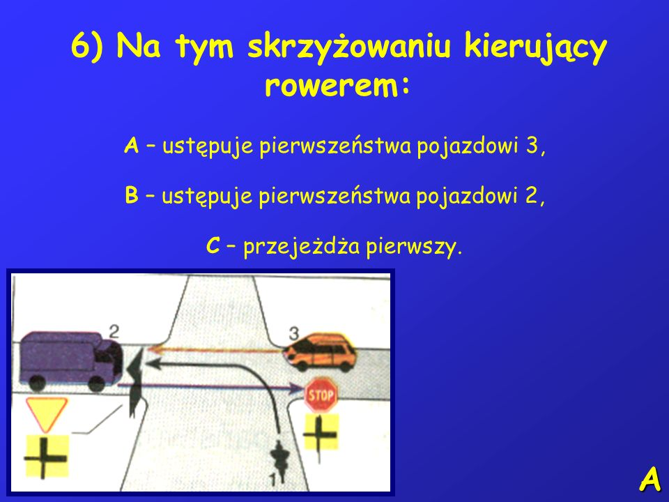 6) Na tym skrzyżowaniu kierujący rowerem: A – ustępuje pierwszeństwa pojazdowi 3, B – ustępuje pierwszeństwa pojazdowi 2, C – przejeżdża pierwszy.