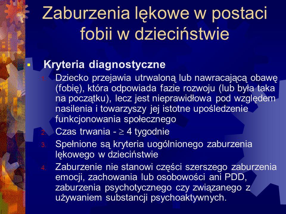 Zaburzenia lękowe w postaci fobii w dzieciństwie  Kryteria diagnostyczne 1. Dziecko przejawia utrwaloną lub nawracającą obawę (fobię), która odpowiad