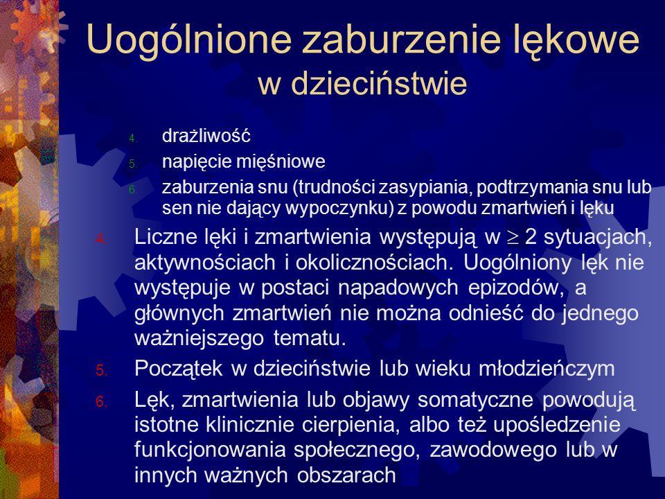 Uogólnione zaburzenie lękowe w dzieciństwie 4. drażliwość 5. napięcie mięśniowe 6. zaburzenia snu (trudności zasypiania, podtrzymania snu lub sen nie