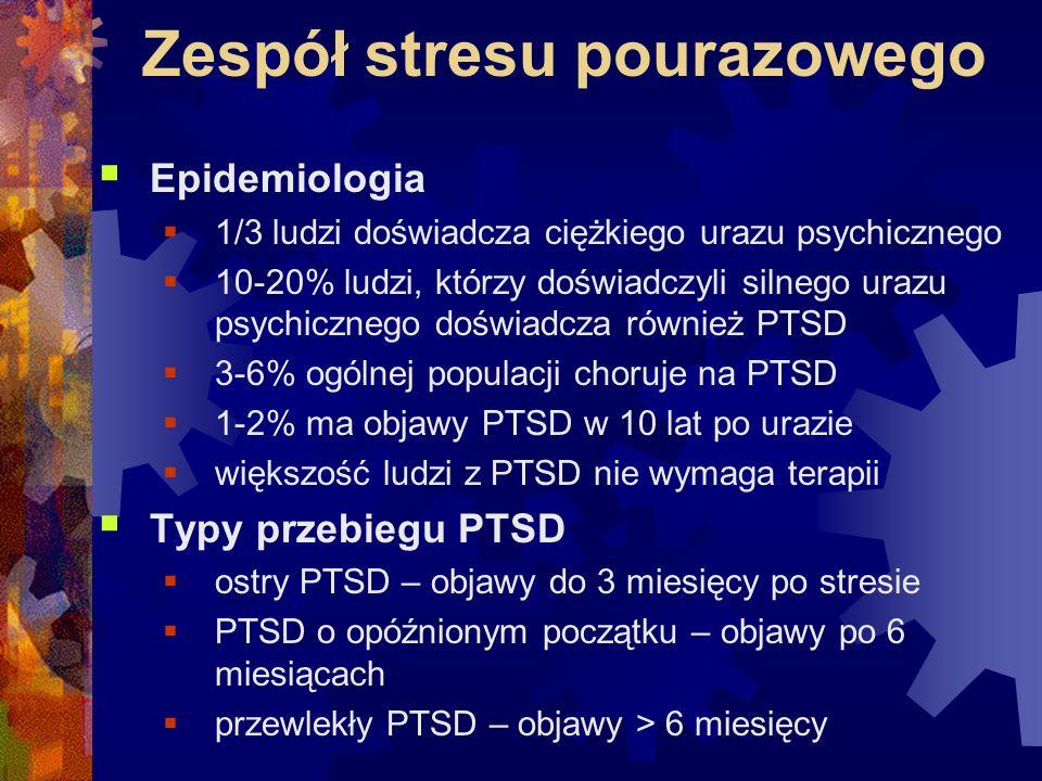 Zespół stresu pourazowego  Epidemiologia  1/3 ludzi doświadcza ciężkiego urazu psychicznego  10-20% ludzi, którzy doświadczyli silnego urazu psychi