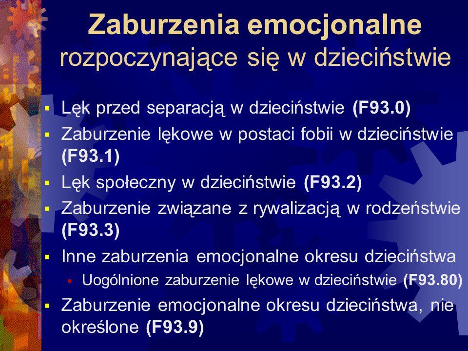Zaburzenia emocjonalne rozpoczynające się w dzieciństwie  Lęk przed separacją w dzieciństwie (F93.0)  Zaburzenie lękowe w postaci fobii w dzieciństw