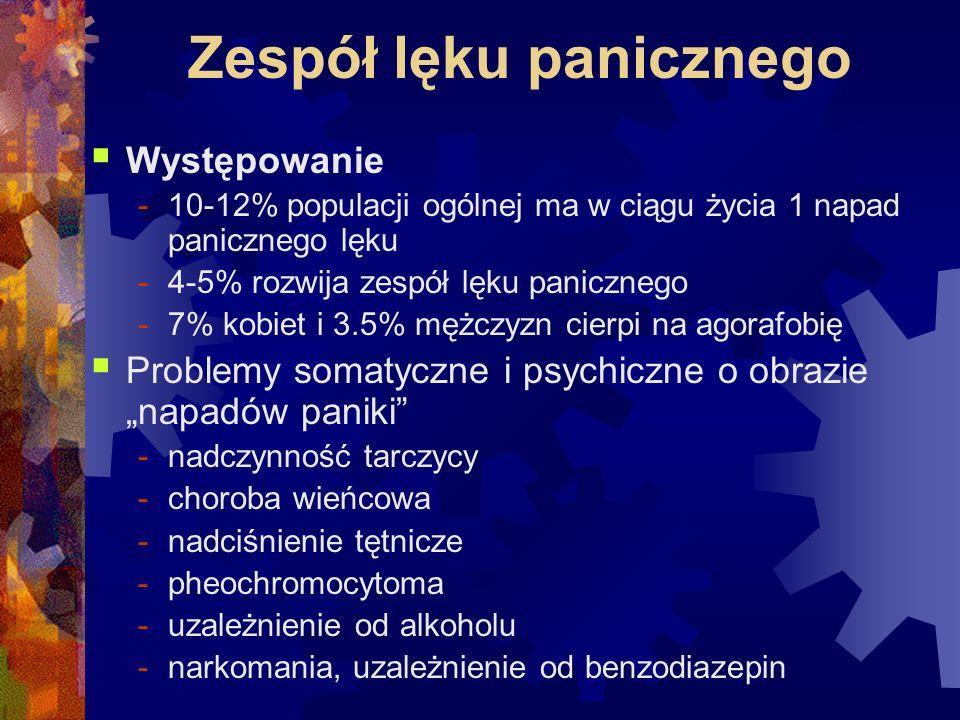 Zespół lęku panicznego  Występowanie -10-12% populacji ogólnej ma w ciągu życia 1 napad panicznego lęku -4-5% rozwija zespół lęku panicznego -7% kobi