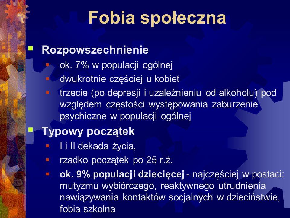 Fobia społeczna  Rozpowszechnienie  ok. 7% w populacji ogólnej  dwukrotnie częściej u kobiet  trzecie (po depresji i uzależnieniu od alkoholu) pod