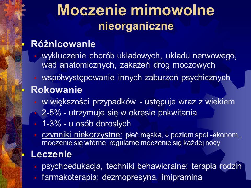 Moczenie mimowolne nieorganiczne  Różnicowanie  wykluczenie chorób układowych, układu nerwowego, wad anatomicznych, zakażeń dróg moczowych  współwy