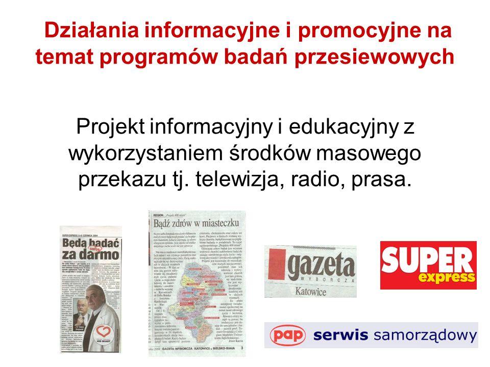 Działania informacyjne i promocyjne na temat programów badań przesiewowych Projekt informacyjny i edukacyjny z wykorzystaniem środków masowego przekazu tj.