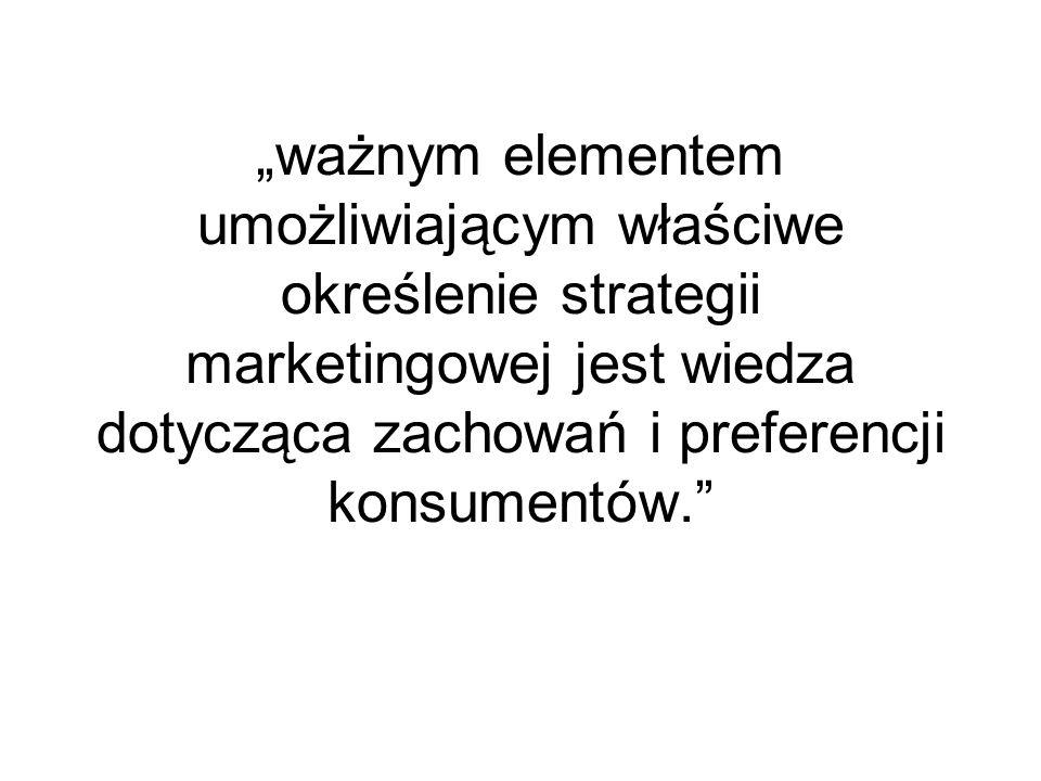 """""""ważnym elementem umożliwiającym właściwe określenie strategii marketingowej jest wiedza dotycząca zachowań i preferencji konsumentów."""