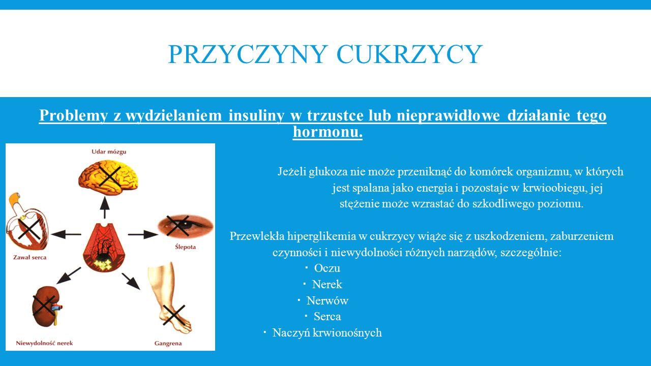 PRZYCZYNY CUKRZYCY Problemy z wydzielaniem insuliny w trzustce lub nieprawidłowe działanie tego hormonu. Jeżeli glukoza nie może przeniknąć do komórek