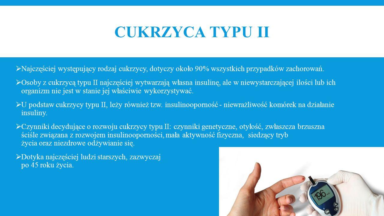 CUKRZYCA TYPU II  Najczęściej występujący rodzaj cukrzycy, dotyczy około 90% wszystkich przypadków zachorowań.  Osoby z cukrzycą typu II najczęściej
