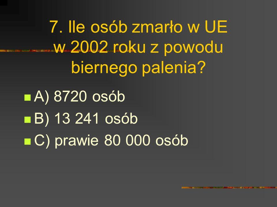7.Ile osób zmarło w UE w 2002 roku z powodu biernego palenia.