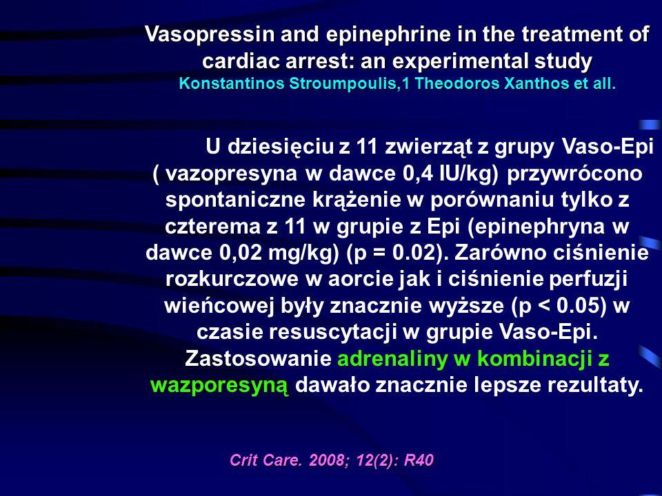 Vasopressin and epinephrine in the treatment of cardiac arrest: an experimental study Konstantinos Stroumpoulis,1 Theodoros Xanthos et all. U dziesięc