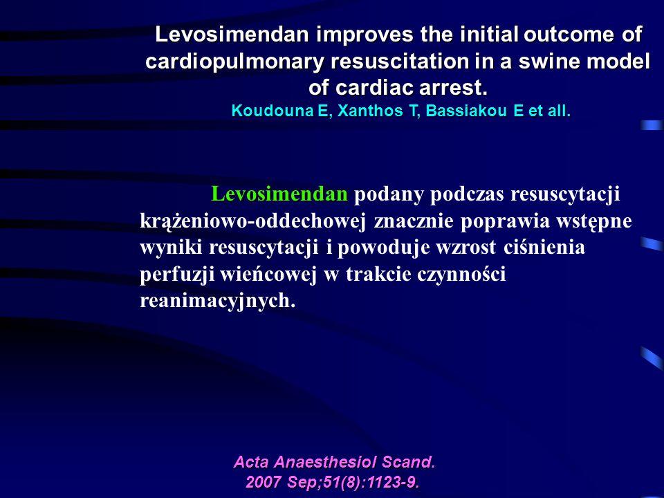 Levosimendan improves the initial outcome of cardiopulmonary resuscitation in a swine model of cardiac arrest.