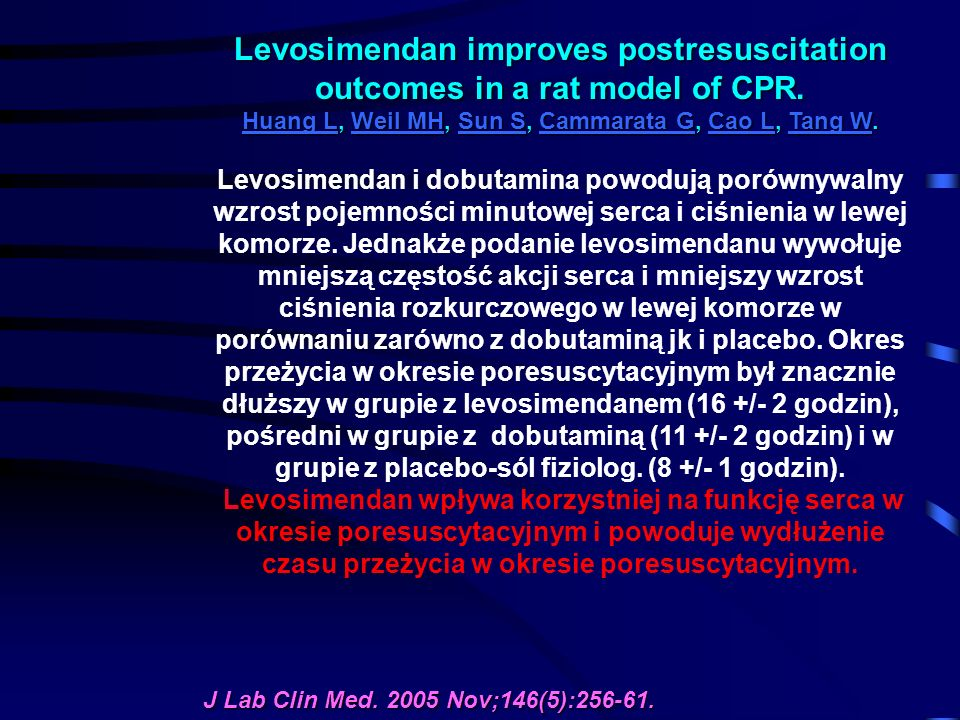 Levosimendan improves postresuscitation outcomes in a rat model of CPR.