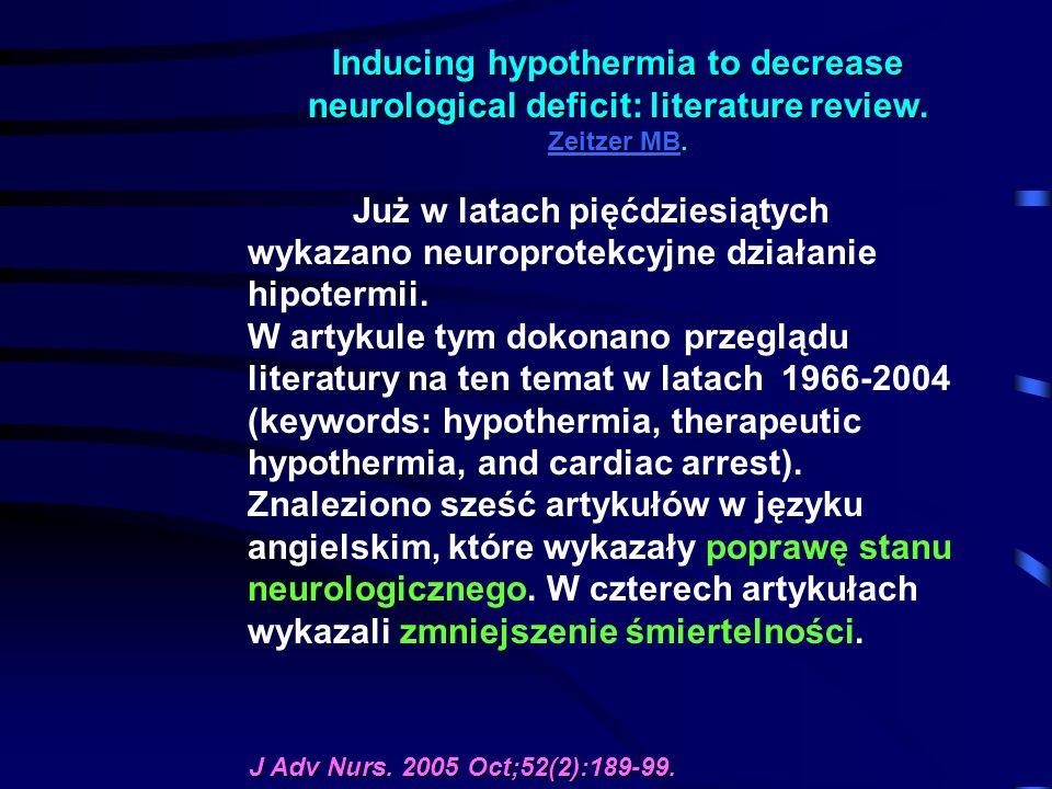Inducing hypothermia to decrease neurological deficit: literature review. Zeitzer MB. Zeitzer MB Zeitzer MB Już w latach pięćdziesiątych wykazano neur