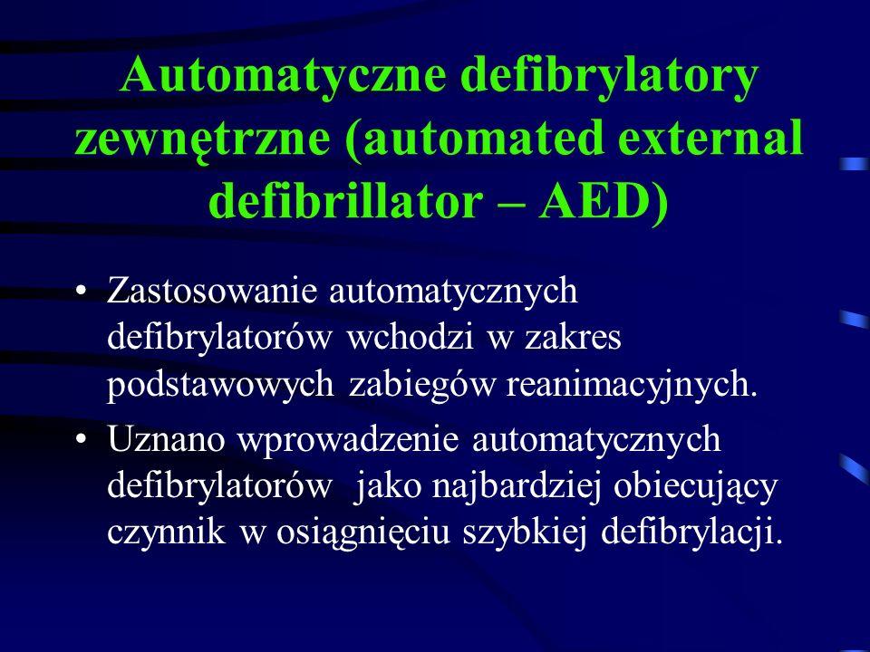 Automatyczne defibrylatory zewnętrzne (automated external defibrillator – AED) Zastosowanie automatycznych defibrylatorów wchodzi w zakres podstawowych zabiegów reanimacyjnych.