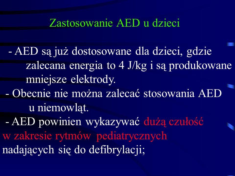Zastosowanie AED u dzieci - AED są już dostosowane dla dzieci, gdzie zalecana energia to 4 J/kg i są produkowane mniejsze elektrody.