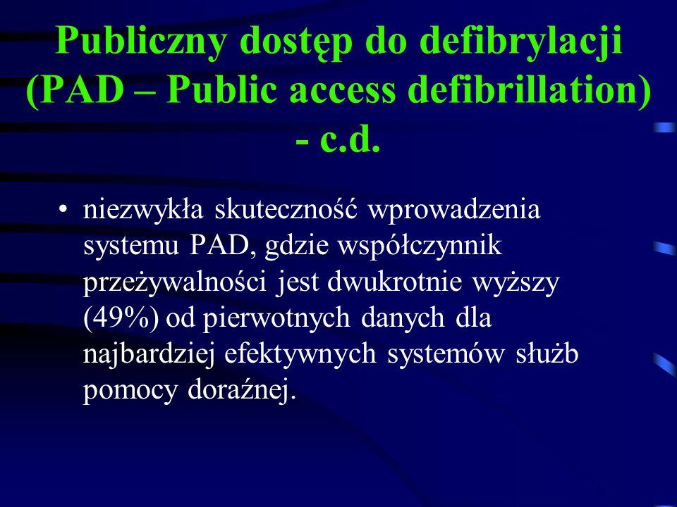 Publiczny dostęp do defibrylacji (PAD – Public access defibrillation) - c.d.