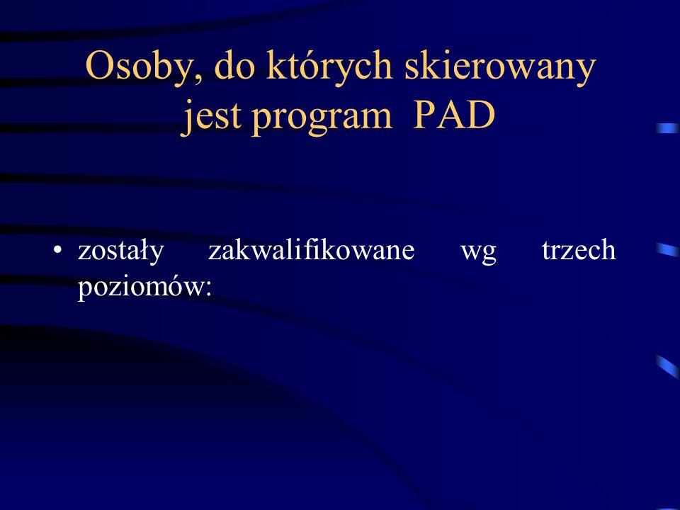 Osoby, do których skierowany jest program PAD zostały zakwalifikowane wg trzech poziomów: