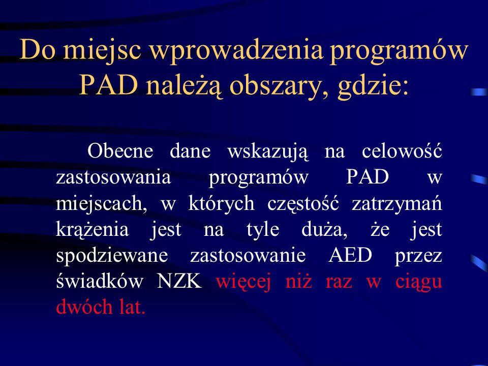 Do miejsc wprowadzenia programów PAD należą obszary, gdzie: Obecne dane wskazują na celowość zastosowania programów PAD w miejscach, w których częstość zatrzymań krążenia jest na tyle duża, że jest spodziewane zastosowanie AED przez świadków NZK więcej niż raz w ciągu dwóch lat.