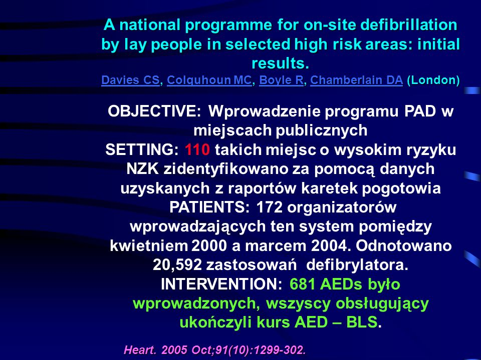 A national programme for on-site defibrillation by lay people in selected high risk areas: initial results.