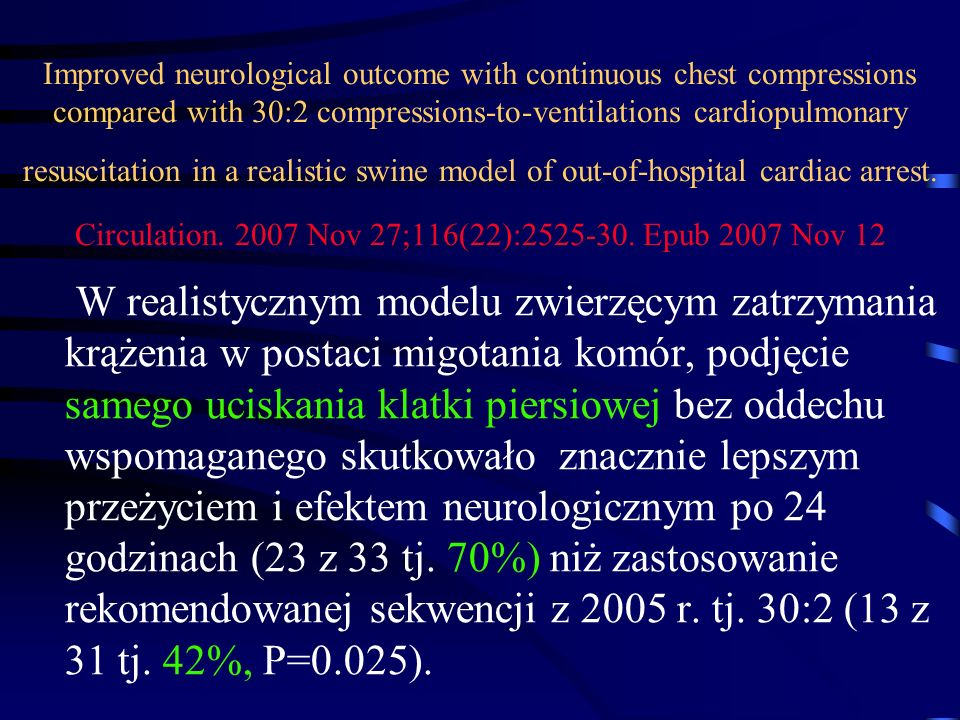 Improved neurological outcome with continuous chest compressions compared with 30:2 compressions-to-ventilations cardiopulmonary resuscitation in a re