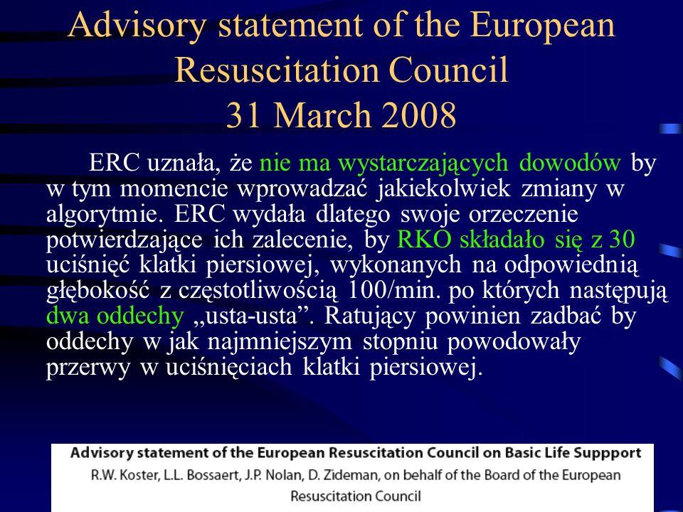 Advisory statement of the European Resuscitation Council 31 March 2008 ERC uznała, że nie ma wystarczających dowodów by w tym momencie wprowadzać jakiekolwiek zmiany w algorytmie.