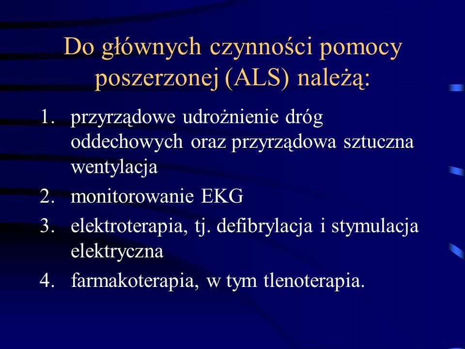 Do głównych czynności pomocy poszerzonej (ALS) należą: 1.przyrządowe udrożnienie dróg oddechowych oraz przyrządowa sztuczna wentylacja 2.monitorowanie EKG 3.elektroterapia, tj.