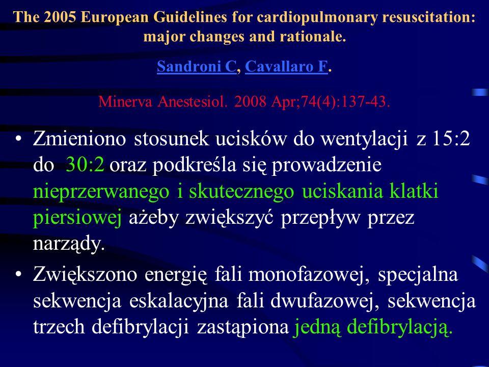 The 2005 European Guidelines for cardiopulmonary resuscitation: major changes and rationale. Sandroni C, Cavallaro F. Minerva Anestesiol. 2008 Apr;74(