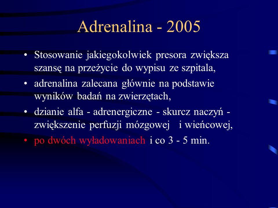 Adrenalina - 2005 Stosowanie jakiegokolwiek presora zwiększa szansę na przeżycie do wypisu ze szpitala, adrenalina zalecana głównie na podstawie wyników badań na zwierzętach, dzianie alfa - adrenergiczne - skurcz naczyń - zwiększenie perfuzji mózgowej i wieńcowej, po dwóch wyładowaniach i co 3 - 5 min.
