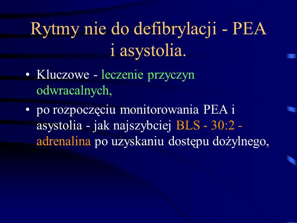 Rytmy nie do defibrylacji - PEA i asystolia.