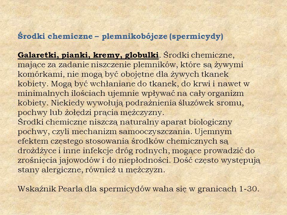 Środki chemiczne – plemnikobójcze (spermicydy) Galaretki, pianki, kremy, globulki.