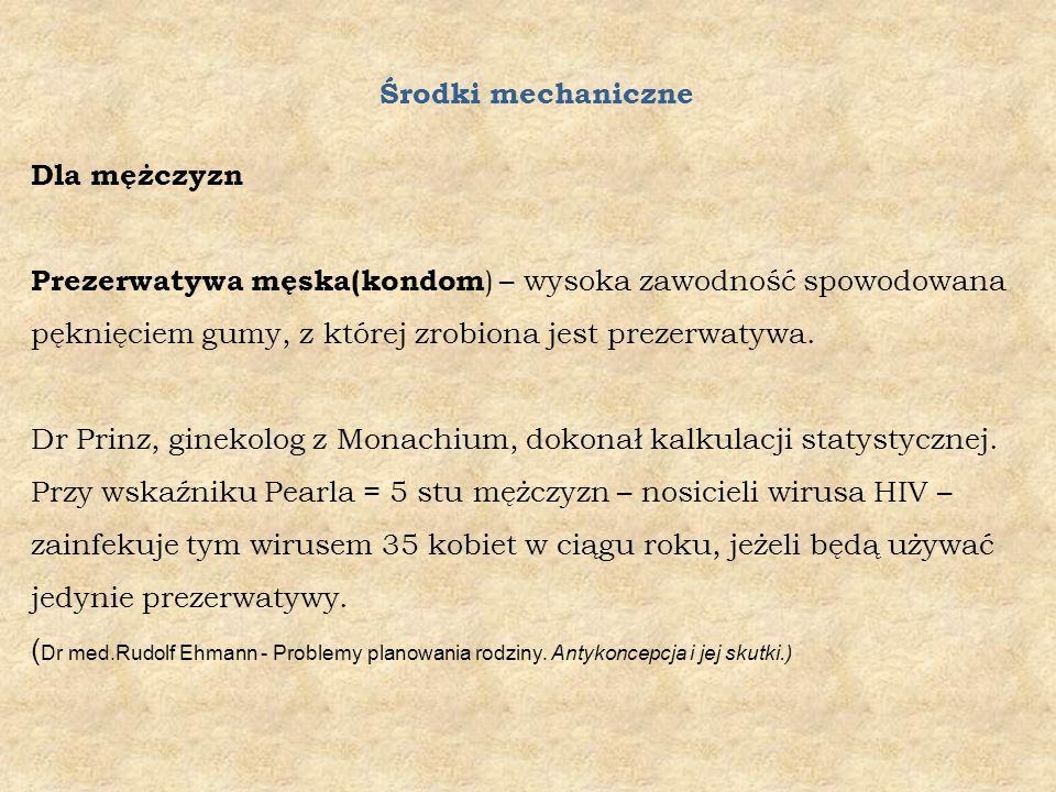 Środki mechaniczne Dla mężczyzn Prezerwatywa męska(kondom ) – wysoka zawodność spowodowana pęknięciem gumy, z której zrobiona jest prezerwatywa.
